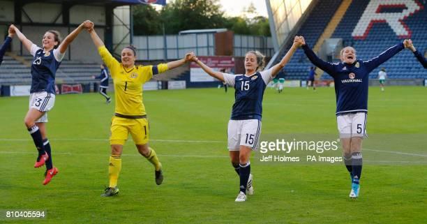 Scotland Women's Chloe Arthur Gemma Fay Sophie Howard and Leanne Ross celebrate victory over Republic of Ireland Women after the International...