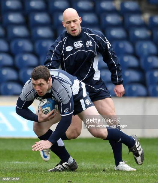Scotland's Alistair Dickinson and Simon Webster during the Captain's Run at Murrayfield Edinburgh