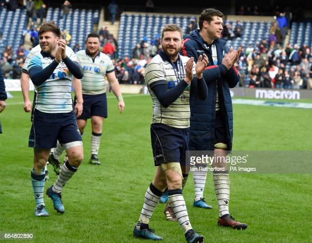 Scotland's Alistair Price Zander Fagerson Finn Russell and Grant Gilchrist on their lap of honour after the RBS Six Nations match at BT Murrayfield...