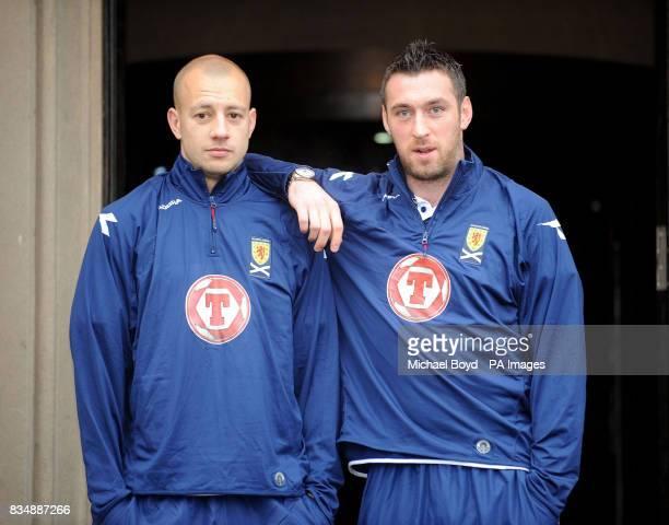 Scotland's Allan Hutton and Allan McGregor following a press conference at Cameron House Hotel Loch Lomond
