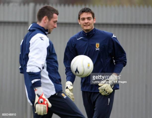 Scotland's Allan McGregor and Craig Gordon during a training session at Strathclyde Holmes Stadium Dumbarton