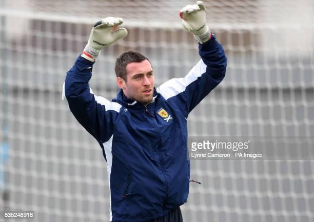 Scotland's Allan McGregor during a training session at Strathclyde Holmes Stadium Dumbarton