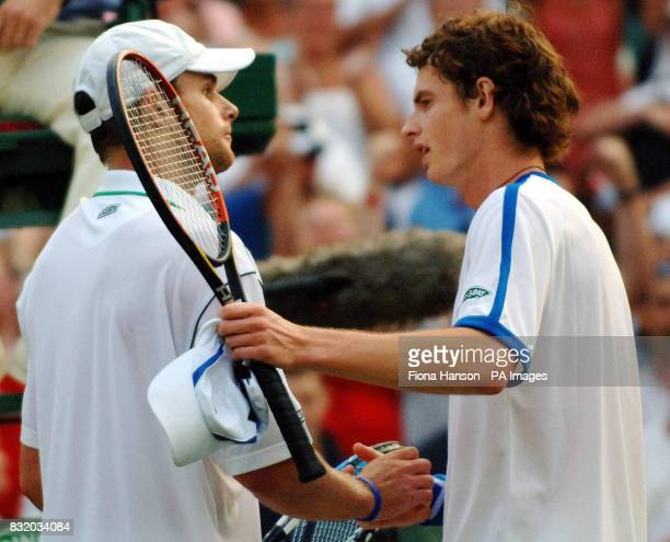 Scotland's Andy Murray is congratulated by USA's Andy Roddick after the third round of The All England Lawn Tennis Championships at Wimbledon