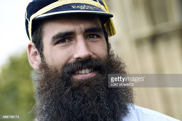 Scotland's back row forward Josh Strauss poses after Scotland's official welcoming ceremony at the Gloucester Cathedral in Gloucester on September 17...