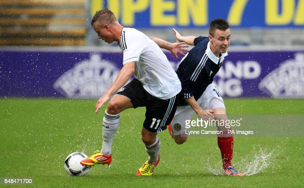 Scotland's Barrie McKay and Germany's Yannick Gerhardt during the International Challenge match at The Falkirk Stadium Falkirk PRESS ASSOICIATION...