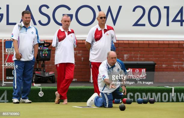 Scotland's Billy Allan plays a bowl during his bronze medal match against England in the ParaSport Open Triples B6/B7/B8 match at Kelvingrove Lawn...