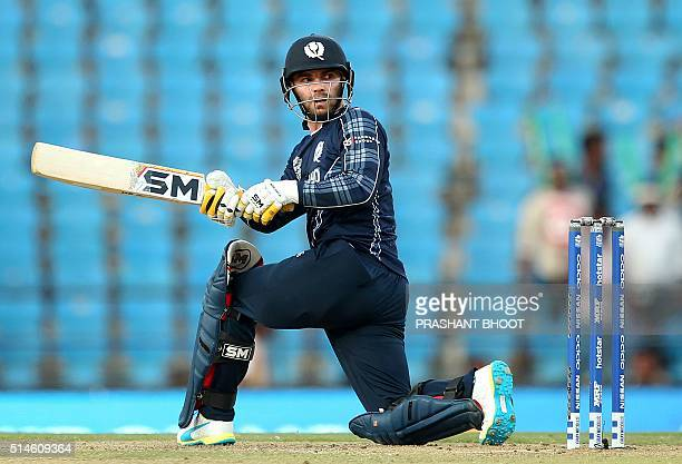 Scotland's captain Preston Mommsen watches the ball after playing a shot during the World T20 cricket tournament match between Scotland and Zimbabwe...