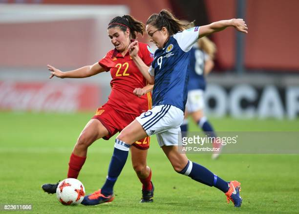 Scotland's Caroline Weir vies with Spain's Mariona Caldentey during the UEFA Women's Euro 2017 football match between Scotland and Spain at De...