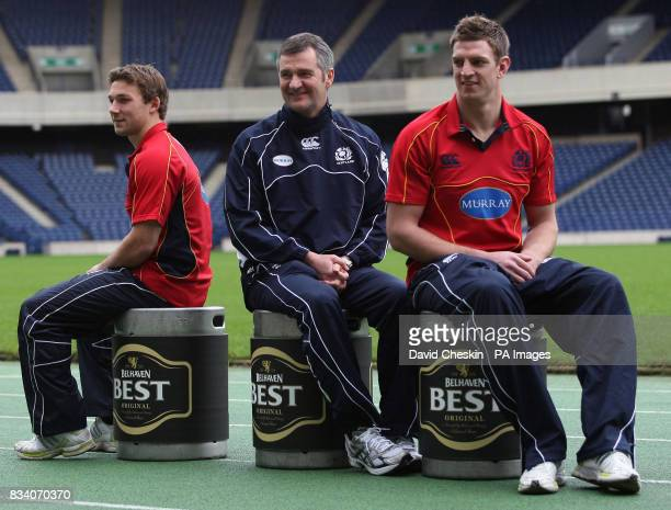 Scotland's Chris Cusiter coach Frank Hadden and Nikki Walker pose during the announcement of their Belhaven sponsorship during a photo call at...