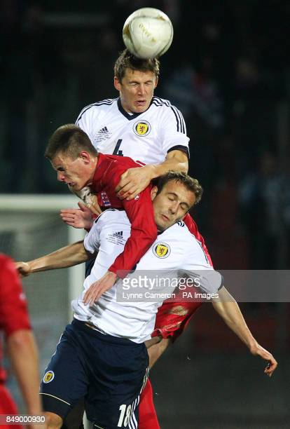 Scotland's Christophe Berra and Liam Kelly battle with Luxembourg's Ben Payal during the International Friendly at the Stade Josy Barthel in...