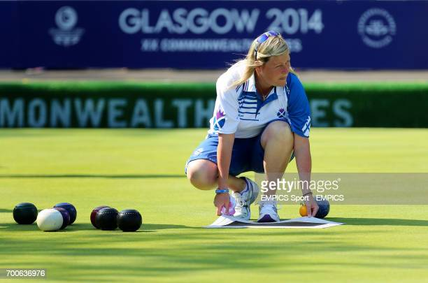 Scotland's Claire Johnston in action during the Women's Fours against the Cook Islands