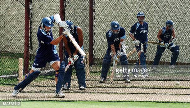Scotland's Colin Smith Navdeep Poonia Douglas Lockhart Fraser Watts and Dewald Nel bat in the nets during a practice session at Warner Park...