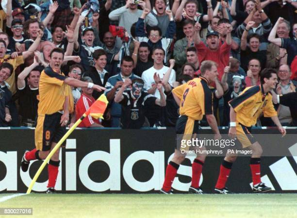Scotland's Craig Burley celebrates his equaliser against Norway in Bordeaux today Picture by Owen Humphreys