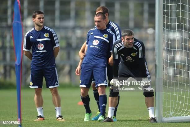 Scotland's Craig Conway captain Scott Brown James McArthur and goalkeeper Matt Gilks during the training session at the National Training Centre...
