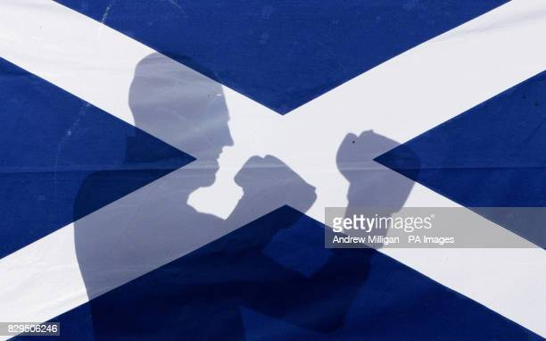 Scotland's Craig Docherty shadow boxing behind the saltire flag Docherty will challenge Alex Arthur for the vacant British superfeatherweight...