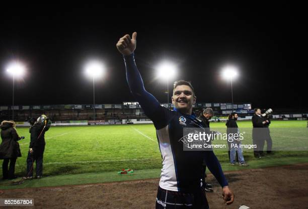 Scotland's Danny Brough celebrates after kicking the winning points during the 2013 World Cup match at Derwent Park Workington PRESS ASSOCIATION...