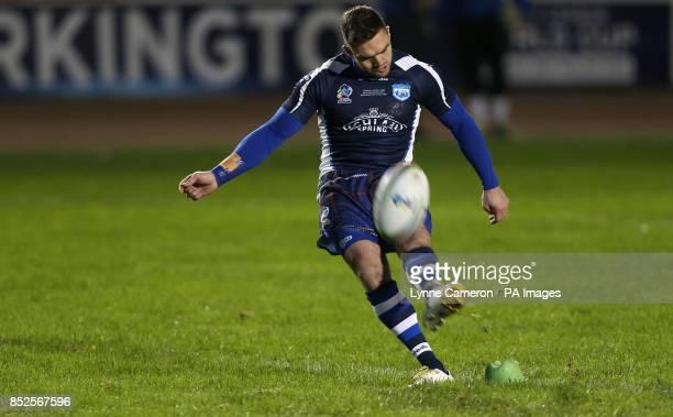 Scotland's Danny Brough scores a conversion during the 2013 World Cup match at Derwent Park Workington