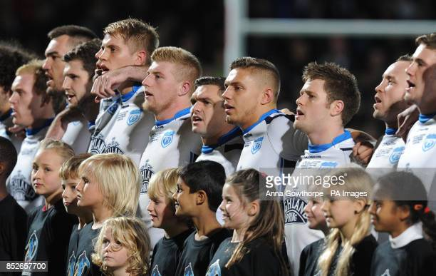 Scotland's Danny Brough sings as the teams line up before kick off during the World Cup Quarter Final match at Headingley Stadium Leeds