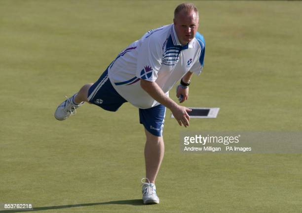 Scotland's Darren Burnett during the Men's Singles bowls final against Canada's Ryan Bester at Kelvingrove Lawn Bowls Centre during the 2014...