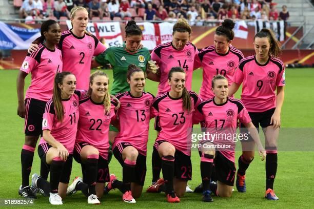 Scotland's defender Ifeoma Dieke Scotland's defender Vaila Barsley Scotland's goalkeeper Gemma Fay Scotland's defender Rachel Corsie Scotland's...