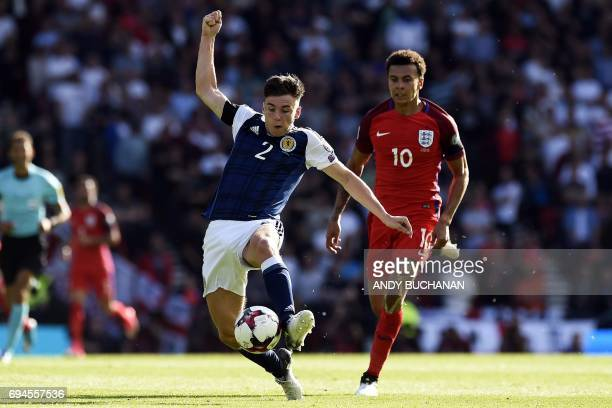 Scotland's defender Kieran Tierney controls the ball during the group F World Cup qualifying football match between Scotland and England at Hampden...