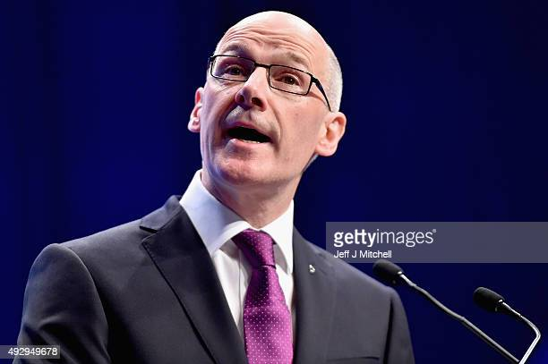 Scotland's Deputy First Minister John Swinney speaks during the afternoon session on day two of the 81st annual conference at the Aberdeen Exhibition...