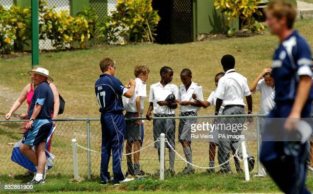 Scotland's Dewald Nel signs autographs during a warm up match against Sri Lanka at thje 3W 's Oval Bridgetown Barbados Thrusday March 8 2007 PA photo...