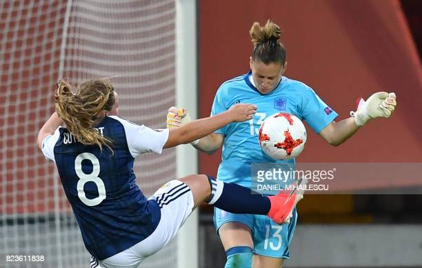 Scotland's Erin Cuthbert vies with Spain's Sandra Panos during the UEFA Women's Euro 2017 football match between Scotland and Spain at De...