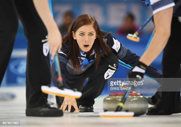 Scotland's Eve Muirhead releases the stone during their playoff against Sweden at the Women's Curling World Championships in Beijing on March 25 2017...