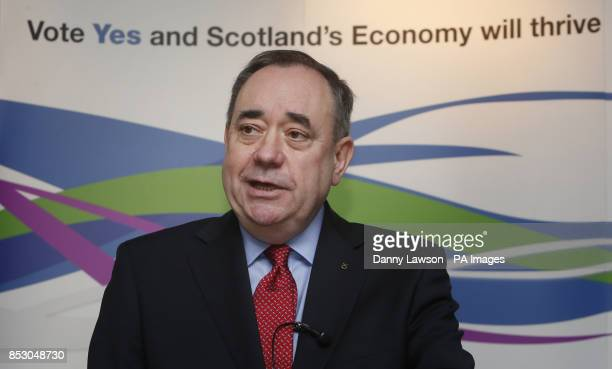 Scotland's First Minister Alex Salmond addresses a Business for Scotland event in Aberdeen where he talked about key plans for independence after a...