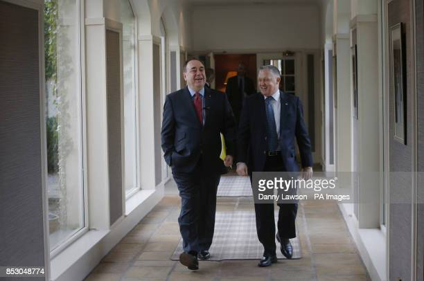 Scotland's First Minister Alex Salmond and Chairman Business for Scotland Tony Bank arrive for the Business for Scotland event in Aberdeen where...
