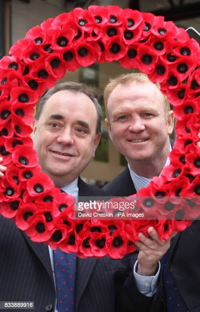 Scotland's First Minister Alex Salmond and Scotland manager Alex McLeish launch the Scottish Poppy Appeal for 2007 at Lady Haig's Poppy Factory Logie...