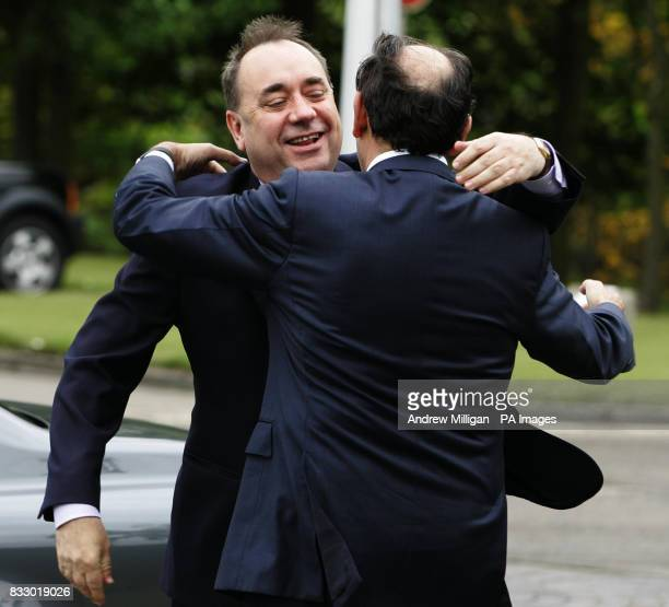 Scotland's First Minister Alex Salmond greets Ignacio Galan chief executive and Chairman of Iberdrola during his first official engagement as First...