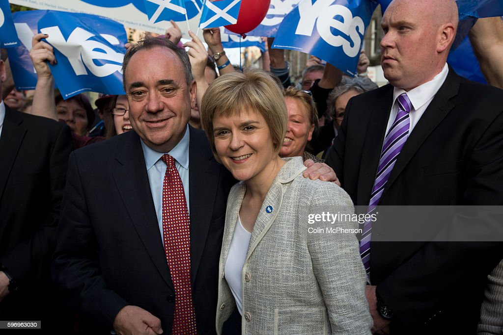 Scotland's First Minister Alex Salmond MSP and the Deputy First Minister Nicola Sturgeon MSP picturing during an event in Perth where they met...