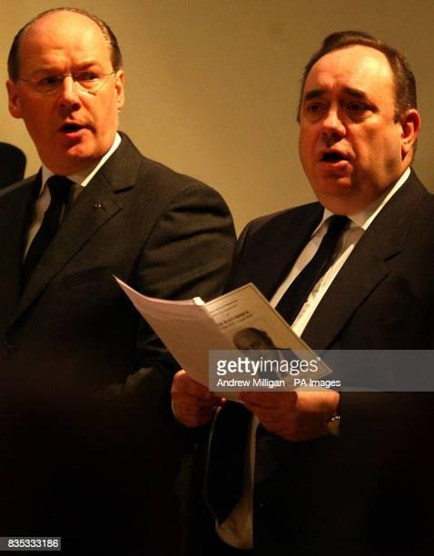 Scotland's First Minister Alex Salmond with Finance Secretary John Swinney at the Service of Thanksgiving for prominent SNP figure Sir Neil...