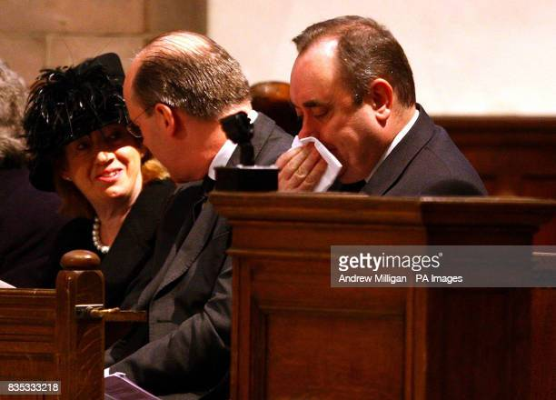 Scotland's First Minister Alex Salmond with Finance Secretary John Swinney and Moira Salmond at the Service of Thanksgiving for prominent SNP figure...