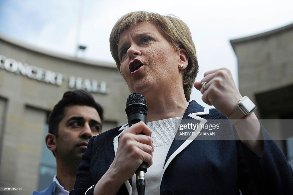 Scotland's First Minister and Leader of the Scottish National Party (SNP), Nicola Sturgeon as she speaks during a campaign event in Glasgow, on May 4, 2016, on the eve of regional elections. The Scottish National Party heads into regional elections on May 5, hoping to strengthen its clout and secure a mandate to demand independence if Britain leaves the European Union. Wales and Northern Ireland will also elect new national assemblies, with elections also taking place in 124 English local authorities on the same day. / AFP / Andy Buchanan