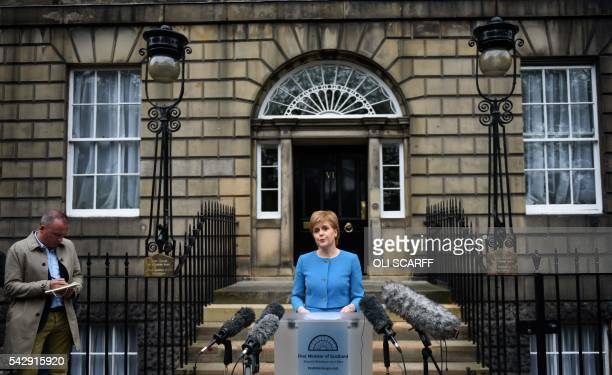 Scotland's First Minister and Leader of the Scottish National Party Nicola Sturgeon addresses the media after holding an emergency Cabinet meeting at...