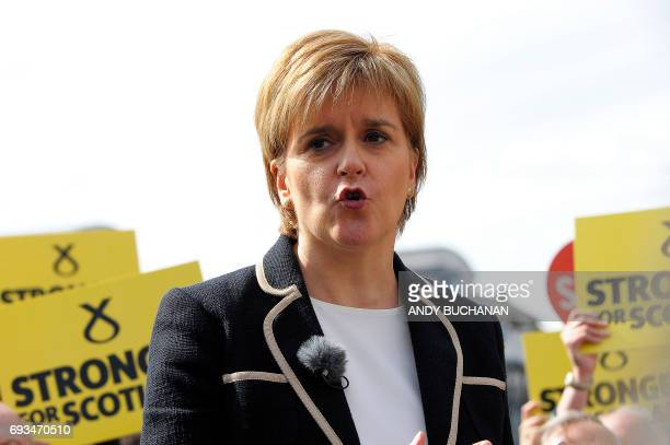 Scotland's First Minister and leader of the Scottish National Party Nicola Sturgeon speaks as she holds a final general election campaign rally on...