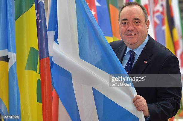 Scotland's First Minister and Scottish National Party leader Alex Salmond attends a Commonwealth Games event at Glasgow Airport as he completes 2002...