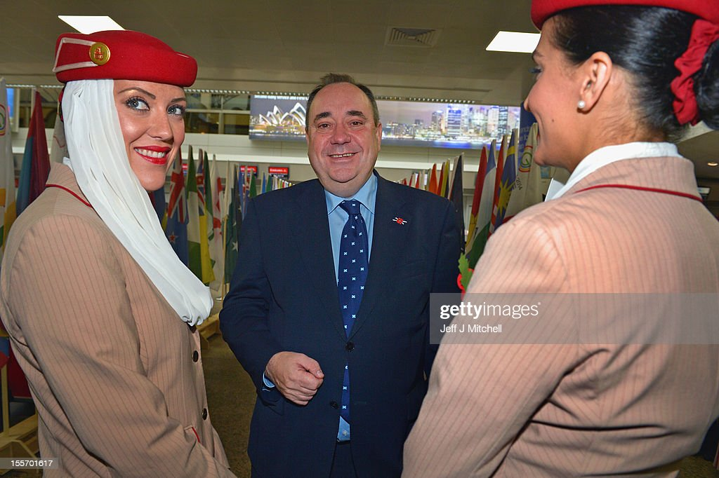 Scotland's First Minister and Scottish National Party leader, <a gi-track='captionPersonalityLinkClicked' href=/galleries/search?phrase=Alex+Salmond&family=editorial&specificpeople=857688 ng-click='$event.stopPropagation()'>Alex Salmond</a>, attends a Commonwealth Games event at Glasgow Airport as he completes 2,002 full days in office, making him the longest-serving first minister on November 7, 2012 in Glasgow,Scotland. Mr Salmond attended a range of engagements in Edinburgh and Glasgow, outlining how his strong team of ministers is delivering results for Scotland every day and the vision his government has to make Scotland a more successful place.