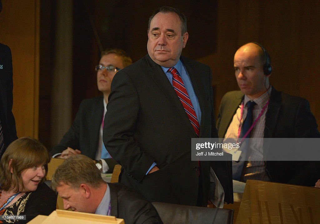 Scotland's First Minister and Scottish National Party leader Alex Salmond attends the Scottish Parliament on October 24, 2012 in Edinburgh, Scotland. Salmond has been accused by opposition parties of misleading his voters over legal advice given to the Scottish government about Scotland's right to join the European Union.