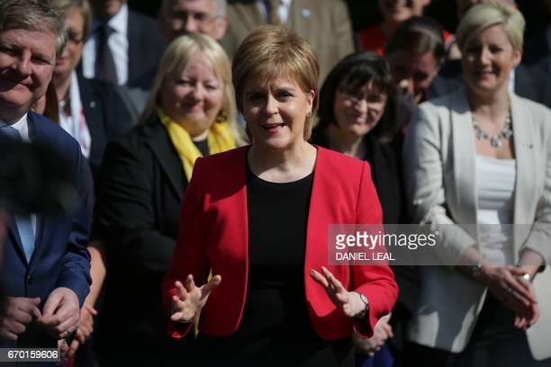 Scotland's First Minister and Scottish National Party leader Nicola Sturgeon speaks during a media facility outside the Houses of Parliament in...