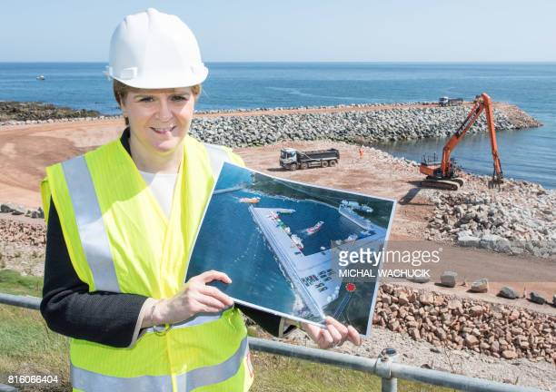 Scotland's First Minister and Scottish National Party leader Nicola Sturgeon visits the site of Aberdeen Harbour's Nigg Bay Expansion in Aberdeen...