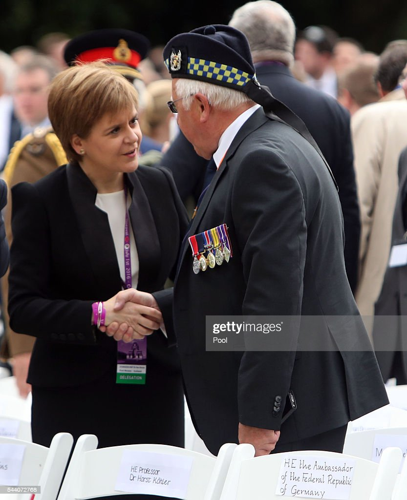 Scotland's First Minister Nicola Sturgen meets a veteran during the Commemoration of the Centenary of the Battle of the Somme at the Commonwealth War Graves Commission Thiepval Memorial on July 1, 2016 in Thiepval, France. The event is part of the Commemoration of the Centenary of the Battle of the Somme at the Commonwealth War Graves Commission Thiepval Memorial in Thiepval, France, where 70,000 British and Commonwealth soldiers with no known grave are commemorated.