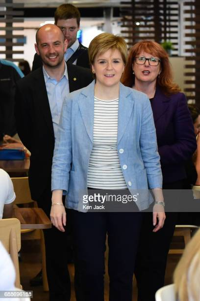Scotland's First Minister Nicola Sturgeon accompanied by SNP general election candidate Deidre Brock and Ben Macpherson MSP arrives for a visit to...