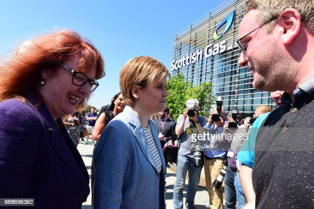Scotland's First Minister Nicola Sturgeon accompanied by SNP general election candidate Deidre Brock arrives for a visit to Scottish Gas headquarters...