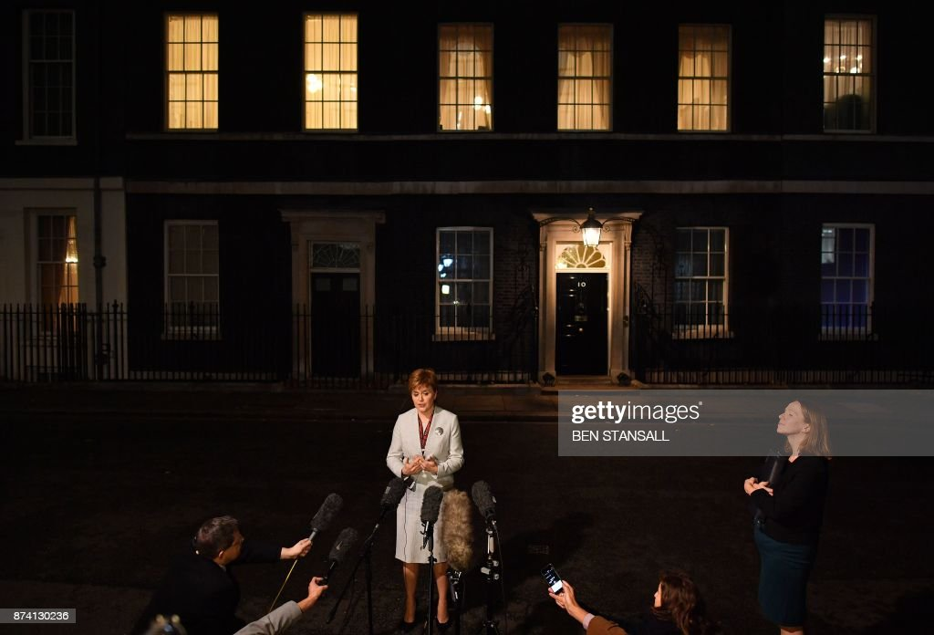 Scotland's First Minister Nicola Sturgeon addresses the media outside 10 Downing Street in central London on November 14, 2017, following her meeting with Britain's Prime Minister Theresa May. / AFP PHOTO / Ben STANSALL
