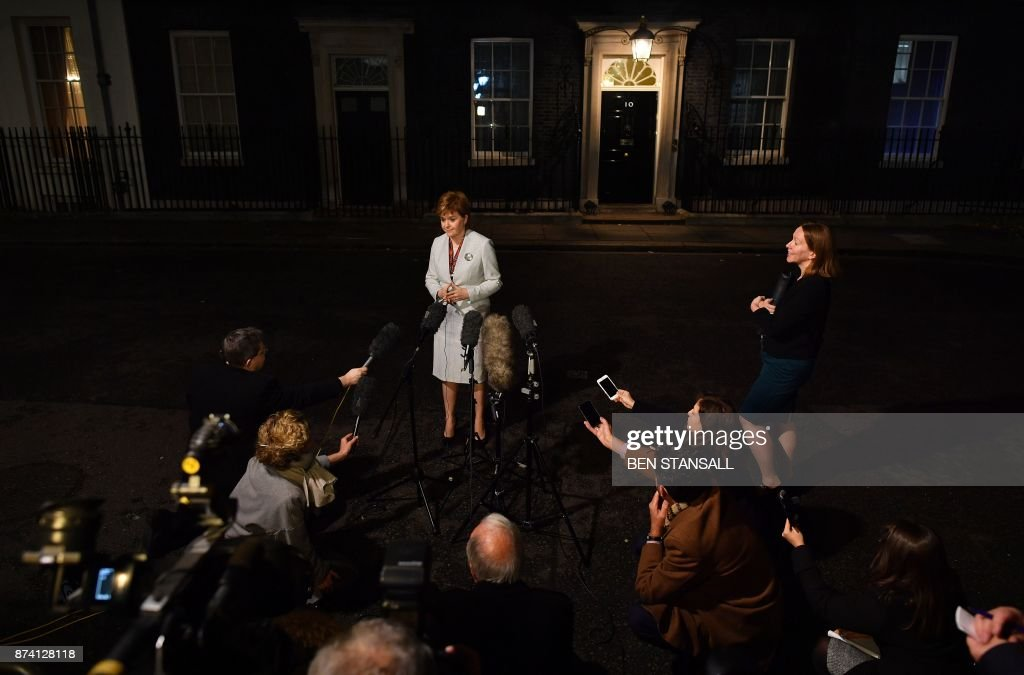 Scotland's First Minister Nicola Sturgeon adressess the media outside 10 Downing Street in central London on November 14, 2017, following her meeting with Britain's Prime Minister Theresa May. / AFP PHOTO / Ben STANSALL