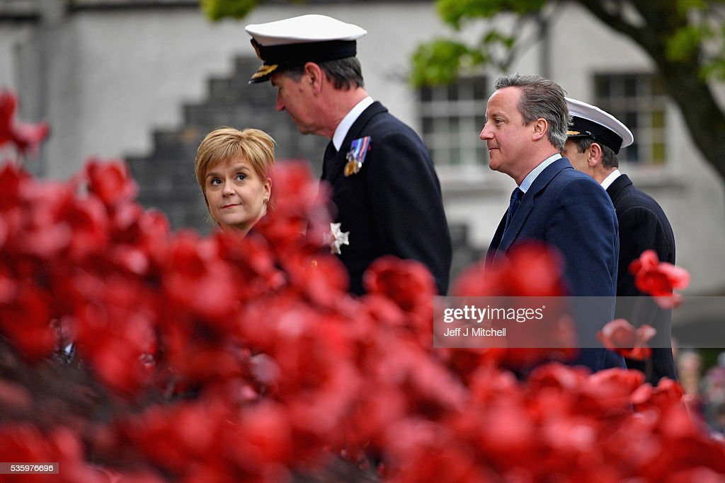 Scotland's First Minister Nicola Sturgeon and British Prime Minister David Cameron attend the commemorations of the 100th anniversary of the Battle of Jutland at St Magnus Cathedral on May 31, 2016 in Kirkwall,Scotland. The event marks the centenary of the largest naval battle of World War One where more than 6,000 Britons and 2,500 Germans died in the Battle of Jutland fought near the coast of Denmark on 31 May and 1 June 1916.